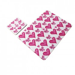 Placemat & Coaster Set Love Hearts