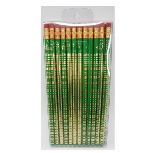 24 Pack HB Pencils Rubber Top (Keyboard Design) green