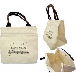 "Mini Cotton Tote Bag ""I Love Music"""