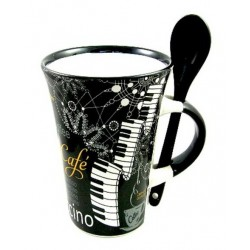 Cappuccino Mug With Spoon – Piano (Black)