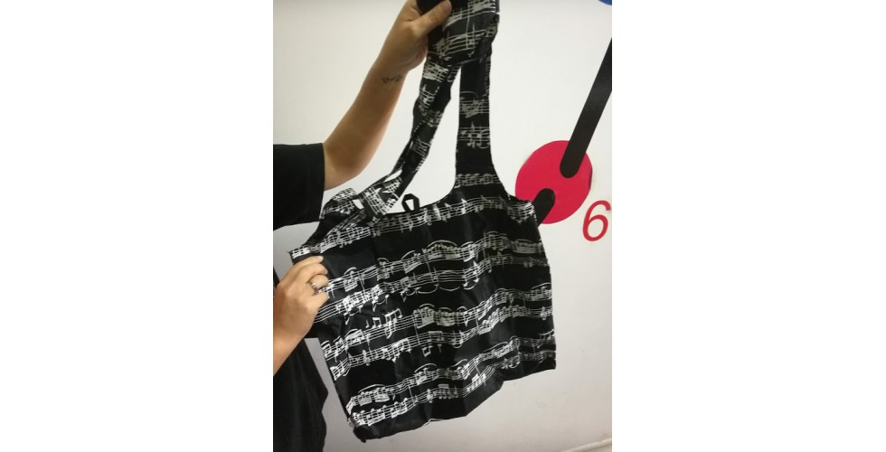 Shopping Bag Folds Into Small Pouch With Snap Hook