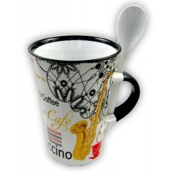 Cappuccino Mug With Spoon – Saxophone (White)