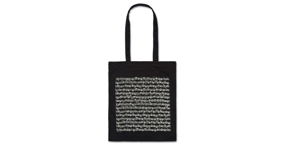 Sheet Music Black Tote Bag VIENNA WORLD