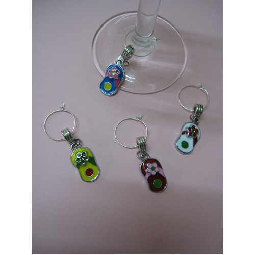 Enamel FLIP FLOP Wine Glass Charms