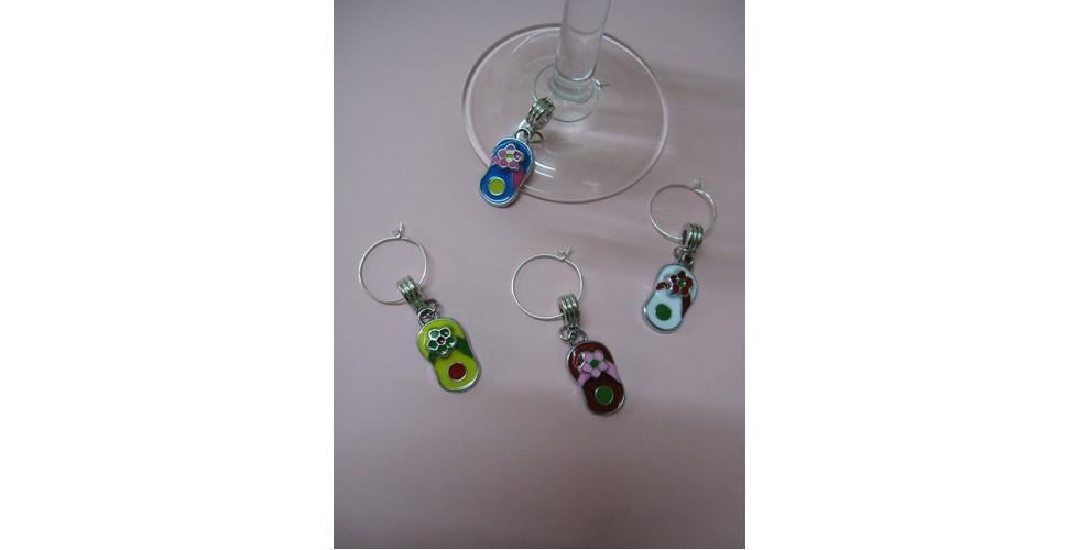 Enamel FLIP FLOP Wine Glass Charms